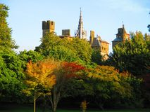 Autumn in Cardiff. Cardiff Castle from Butte Park in the early autumn Royalty Free Stock Photos
