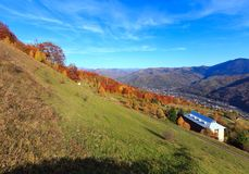 Autumn Carpathian-Berg, Rakhiv, Ukraine Stockbilder
