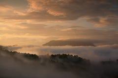 Autumn Carpathian fog Royalty Free Stock Image