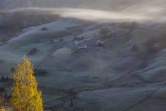 Autumn carpathian hills in fog Stock Photography