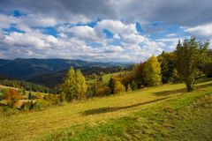 Autumn Carpathian-landschap Stock Foto