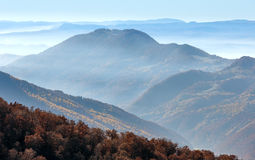 Autumn Carpathian misty landscape. Stock Photography