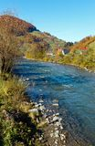 Autumn Carpathian mountain river Ukraine. Stock Photography