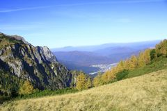 Autumn in the Carpathians. Beautiful view seen from Bucegi's Plateau,on Piciorul Pietrei Arse trail Royalty Free Stock Photography