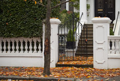 Autumn Carpeting. Autumn leaves carpet the entrance to a private home in London Royalty Free Stock Image
