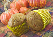 Autumn Carrot Pecan Muffins Royalty Free Stock Photo