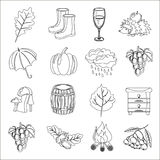 Autumn. Cartoon and flat style. Icon  objects set for design with background. Autumn. Cartoon and flat style. Icon and objects set for design with background Royalty Free Stock Images