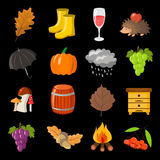 Autumn. Cartoon and flat style. Icon  objects set for design with background. Autumn. Cartoon and flat style. Icon and objects set for design with background Royalty Free Stock Photo