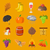 Autumn. Cartoon and flat style. Icon  objects set for design with background. Autumn. Cartoon and flat style. Icon and objects set for design with background Stock Photos