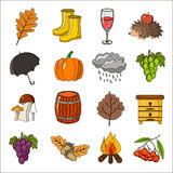 Autumn. Cartoon and flat style. Icon  objects set for design with background. Autumn. Cartoon and flat style. Icon and objects set for design with background Stock Photo
