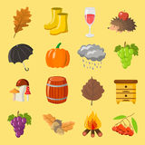 Autumn. Cartoon and flat style. Icon  objects set for design with background. Autumn. Cartoon and flat style. Icon and objects set for design with background Royalty Free Stock Image