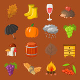 Autumn. Cartoon and flat style. Icon  objects set for design with background. Autumn. Cartoon and flat style. Icon and objects set for design with background Stock Image