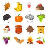 Autumn. Cartoon and flat style. Icon  objects set for design with background. Autumn. Cartoon and flat style. Icon and objects set for design with background Royalty Free Stock Photography