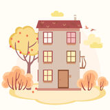 Autumn cartoon story house with trees Stock Photos