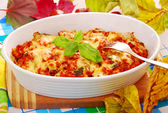 Autumn casserole with minced meat and zucchini Stock Photography