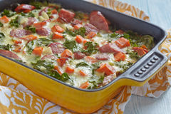 Autumn casserole with sweet potato and kale Stock Photos