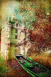 Autumn castle. Pictorial autumn scene with castle and old boat - artwork in painting style vector illustration