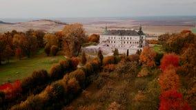 Autumn castle landscape in flight. Up stock video
