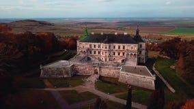Autumn castle landscape in flight. Up stock footage