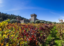 Autumn at the castle. Napa Valley, California - November 08: Tourist attraction, the Castello di Amorosa, a beautiful vineyard and winery in autumn. November 08 Stock Images
