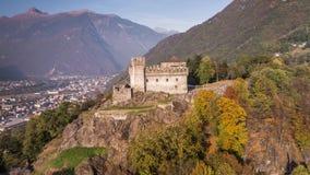 Autumn Castle Ticino Castello Sasso Corbaro Switzerland Aerial 4k