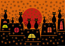 Autumn cats illustration Stock Images