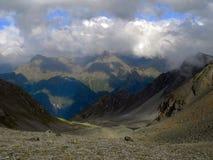 Autumn caucasus. Valley of Kuban river in Caucasus mountain, Karachay-Cherkessia, Russia Stock Image