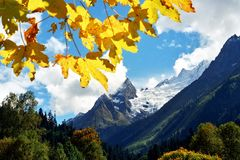 Autumn in Caucasus mountains Stock Photo