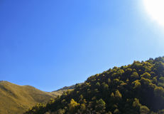Autumn and caucasus mountains. Season landscape Royalty Free Stock Images