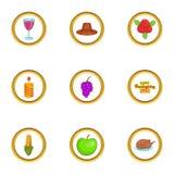 Autumn celebration icons set, cartoon style. Autumn celebration icons set. Cartoon illustration of 9 autumn celebration vector icons for web design vector illustration