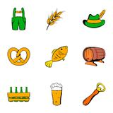 Autumn celebration icons set, cartoon style Royalty Free Stock Images