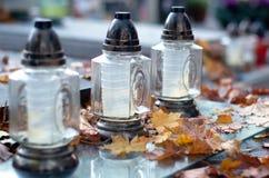 Autumn cemetery. Stock Photos