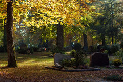Autumn cemetery. Cemetery in autumn colors in Heidenheim, Germany Stock Photography