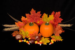 Autumn Centerpiece. Miniature pumpkin, wheat and fall maple leaf centerpiece on background of black micro velvet royalty free stock photos