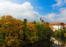 Autumn of Cesky Krumlov. Beautiful color of trees, autumn in Cesky Krumlov by the river, Czech republic stock photo