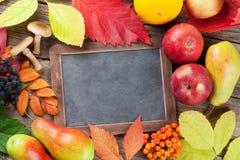 Autumn chalkboard with fruits, mushrooms stock image