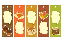 Autumn Characters Bookmark Vector Set Images stock
