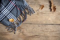 Autumn. Checkered plaid with dry leaf. royalty free stock photo