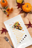 Autumn Cheesecake and Pumpkins Stock Image