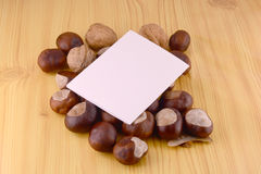 Autumn chestnuts on wooden background and blank paper card Stock Photos