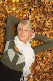 Autumn Chick. Beautiful sexy woman in natural autumn outdoors Stock Photos