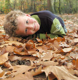 Autumn child. Smiling boy lying on autumn leafs, looking up, with a high set horizon Royalty Free Stock Photos