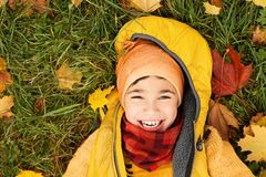 Autumn Child Boy on Green Grass and Fall Leaves Outdoors. Happy Little Boy in Autumn Park Royalty Free Stock Photo