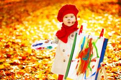 Autumn Child Painting Art Picture, Kid Artist Drawing Fall Leave. S, Baby Girl Outdoor Portrait stock images