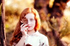 Autumn child portrait. Child portrait in autumn, red haired girl covered the eyes with a leaf Royalty Free Stock Image