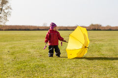 Autumn child portrait with umbrella Royalty Free Stock Photo