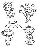 Autumn children. Set (outline version Royalty Free Stock Images