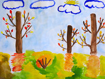 Autumn children drawing with trees and clouds Stock Photos