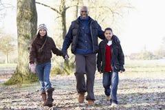 autumn children father walk Στοκ Εικόνες
