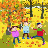 Autumn and children Stock Photography